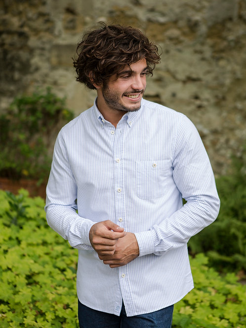 Cuisse de Grenouille Sky Blue and White Stripes shirt