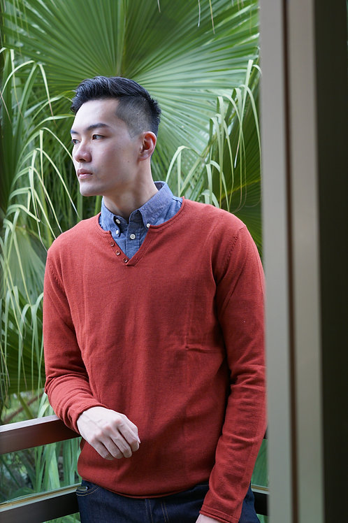 Harris Wilson cotton and wool Acajou red pullover