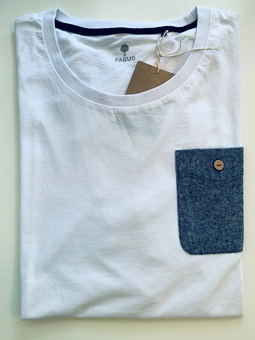 Faguo white t-shirt with denim pocket on the chest