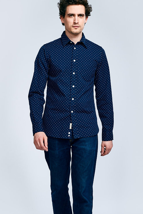 Bellerose dark navy shirt with white embroidered dots