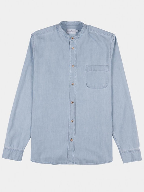 Cuisse de Grenouille light denim Mao collar shirt