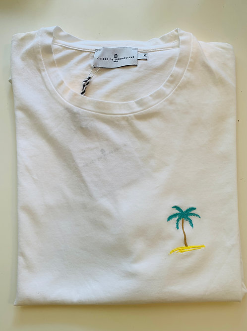 Cuisse de Grenouille White T-shirt with palm embroidery