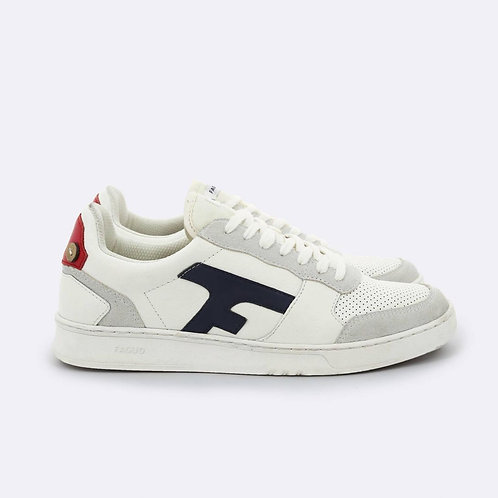 Faguo Hazel off white sneakers with blue and red details