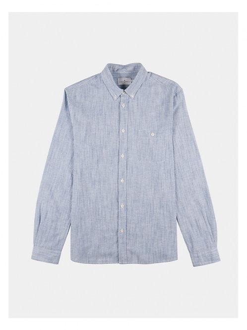 Cuisse de Grenouille  Cotton with light blue micro stripes