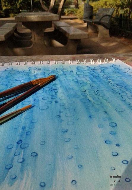 ציור בצבעי מים בטבע