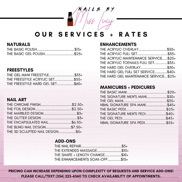 Nails By Miss Lucy - NEW Pricing List De