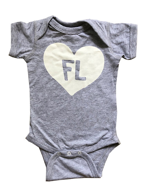 Grey + White State Heart Onesie
