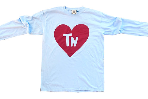 Light Blue + Red State Heart Long Sleeve