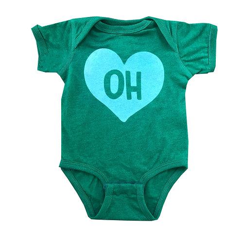 Green + Mint State Heart Onesie