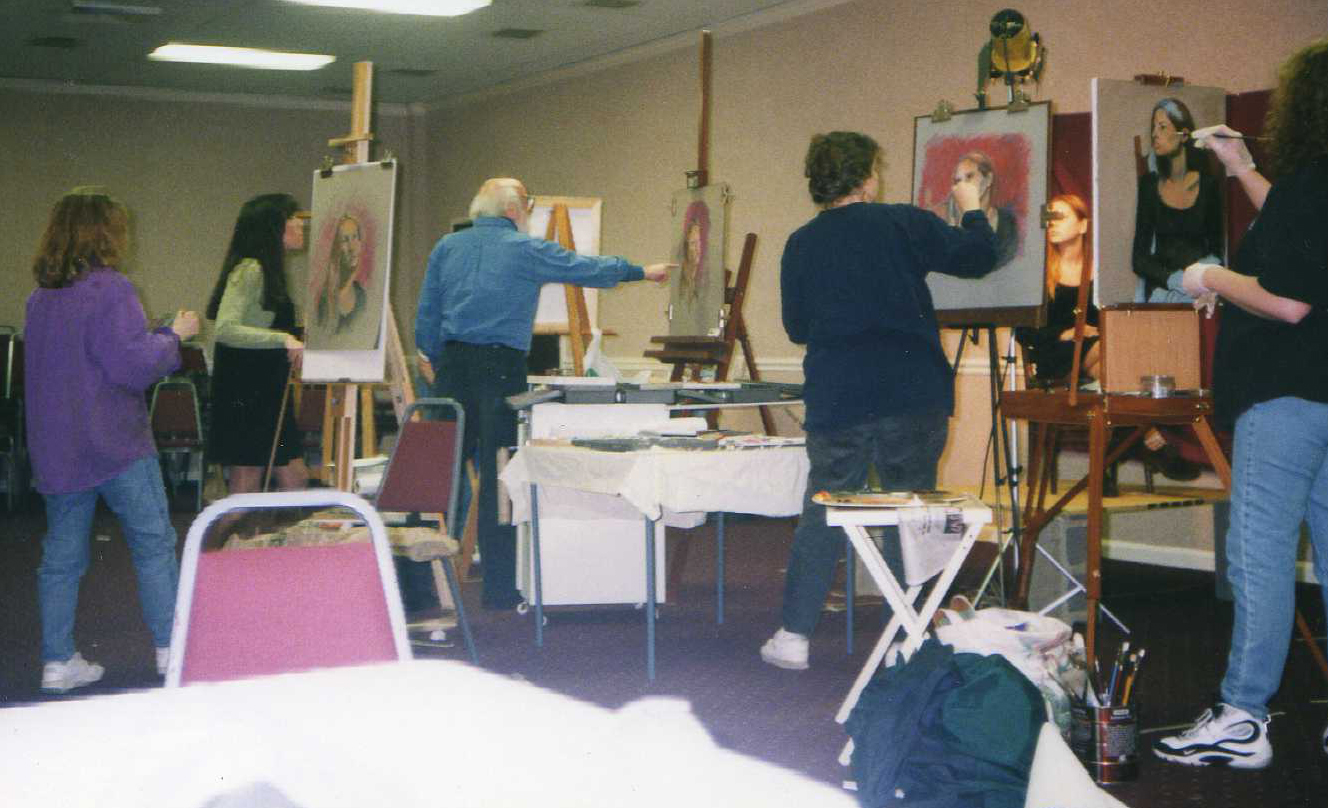 Dan Greene at my easel Nashville 1996 maybe