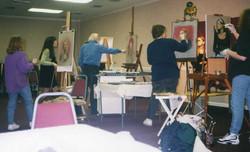 Dan Greene at my easel Nashville 1996 maybe