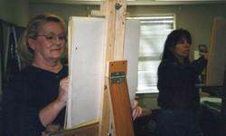 Painting in shirley Pharris studio 1993