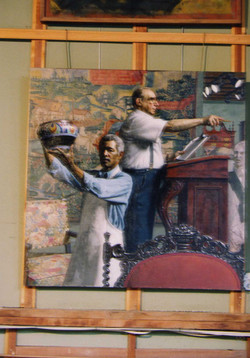 DAn Green painting in progress 1998