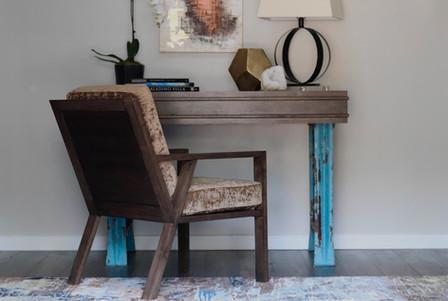 Custom Walnut Table and Chair