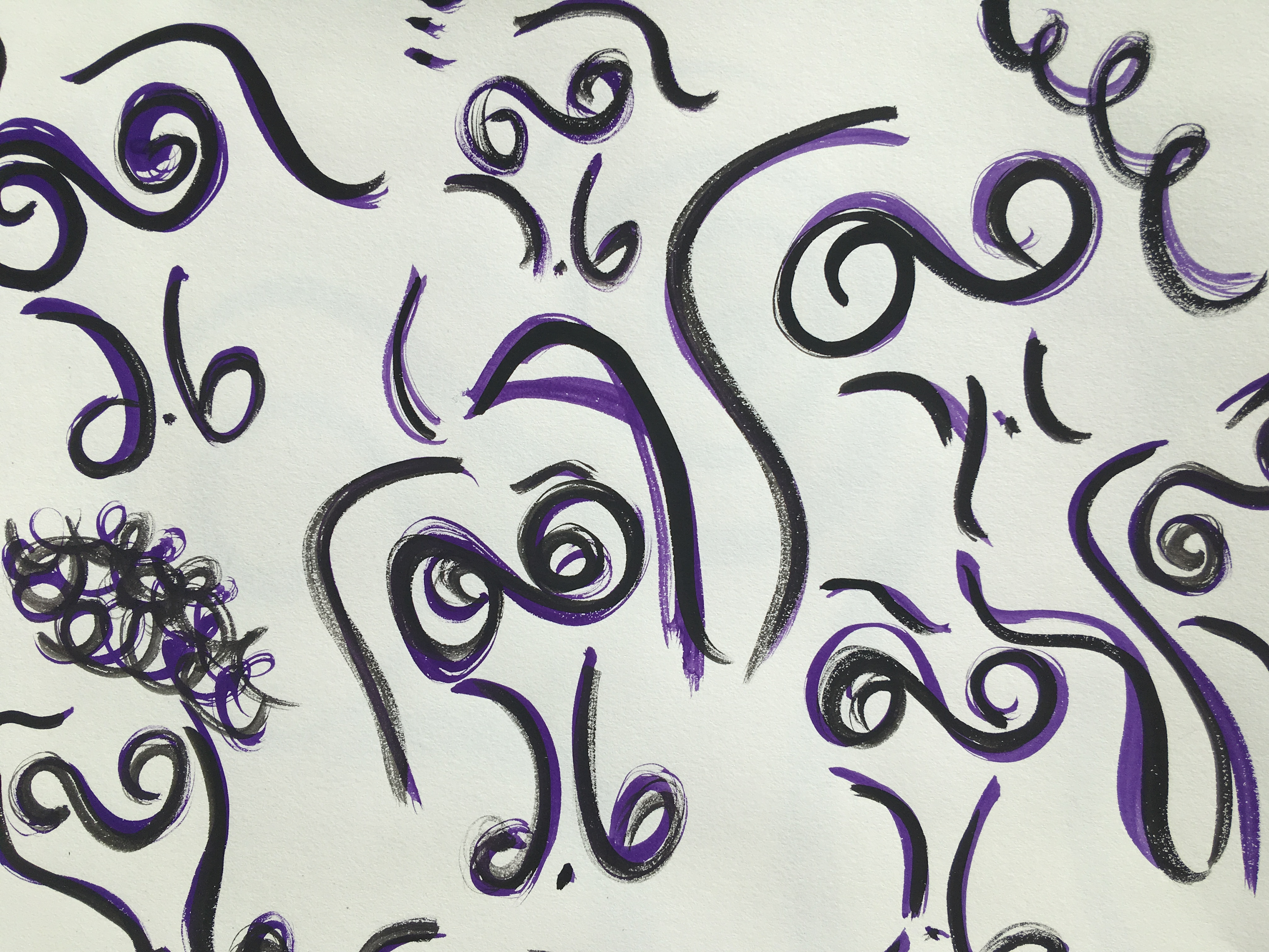 Abstract watercolor purple and black