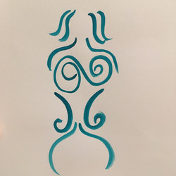 abstract watercolor teal woman body