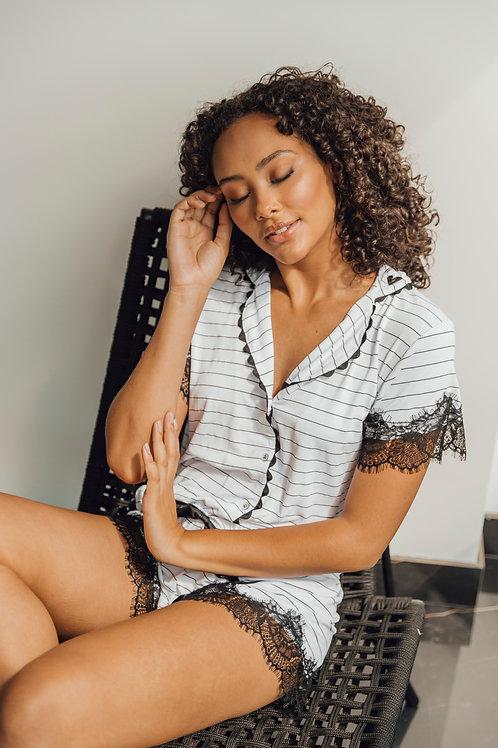 Pijama Listrado Branco