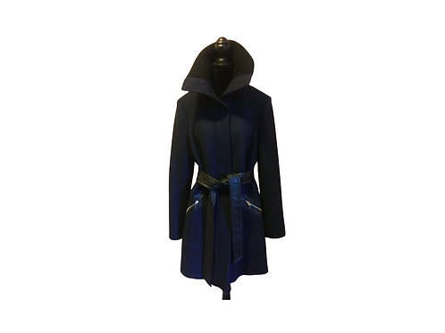 New - Via Spiga Virgin Wool & Leather Coat