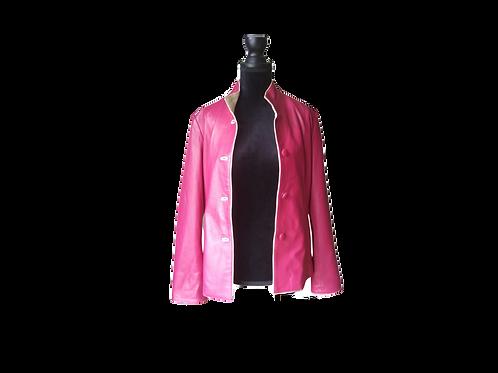 Mod Fuschia & Cream Leather Jacket