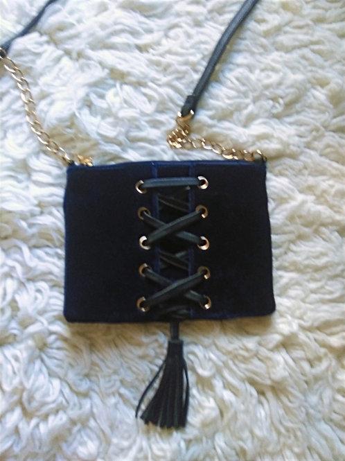 Medieval-like Royal Blue Velvet & Leather Crossbody
