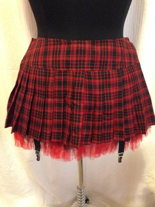 ROYAL BONES Red Plaid Mini Skirt