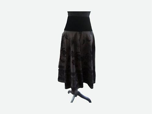 Black Velvet and Cotton Full Dress or Skirt