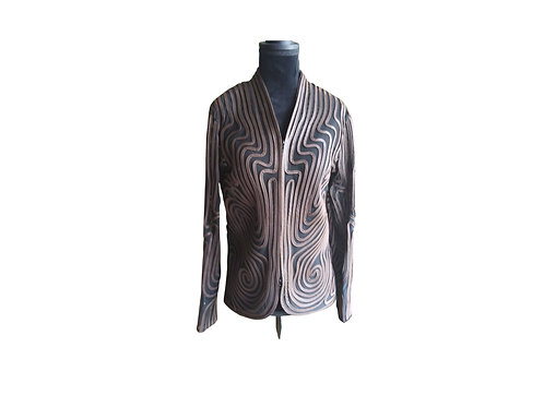 Rare Find - Osstinee Leather Stripped Jacket - Size:  Medium