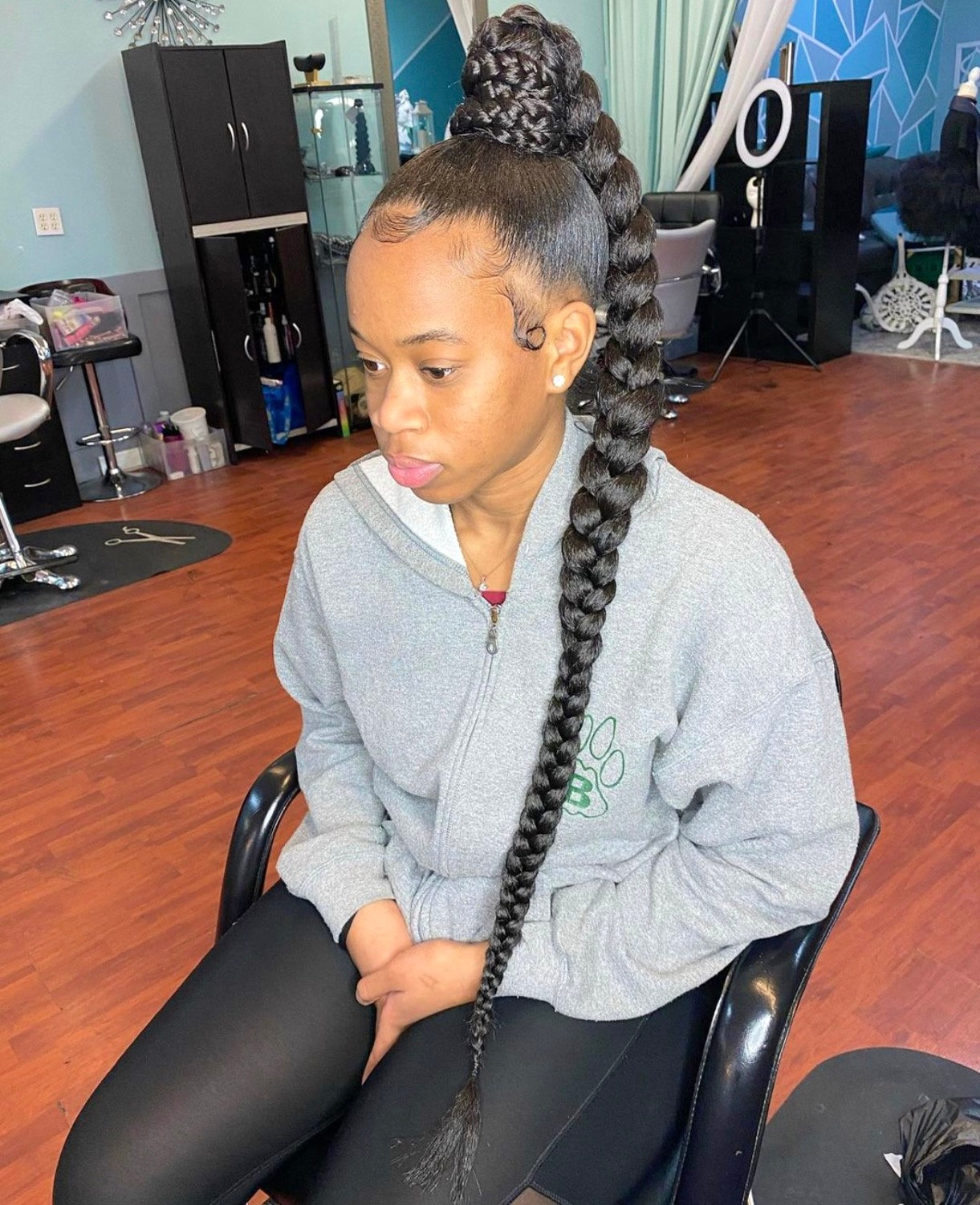 Extended High Braided Ponytail