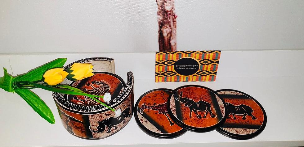 Set of 6 sandstone coasters, handmade painted.