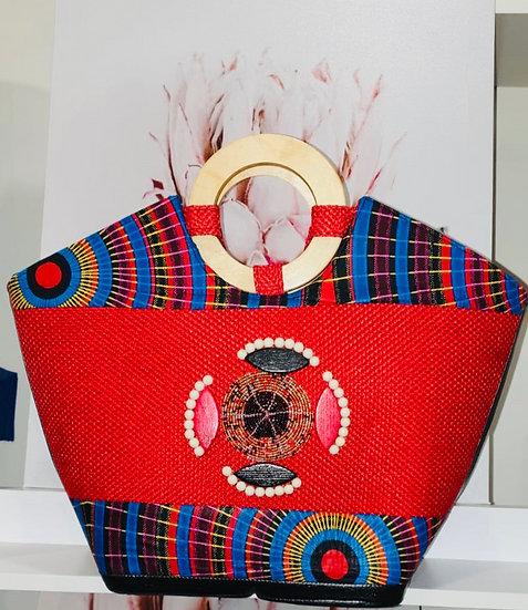 Wooden handle Ankara handbag.