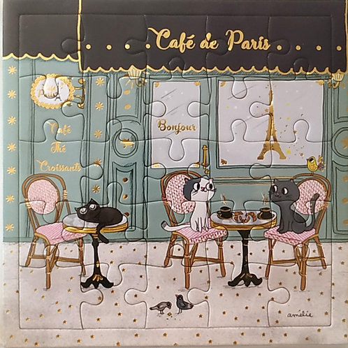 CARTE PUZZLE café de Paris