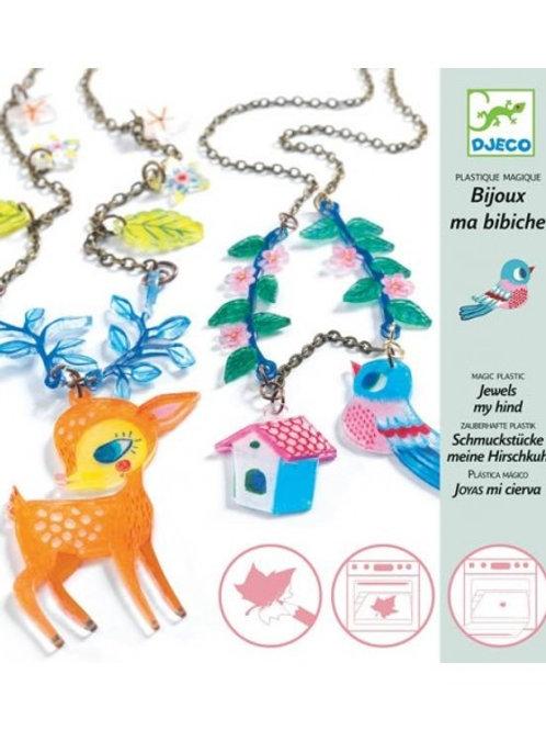 bijoux Plastique magique - le faon et l'oiseau