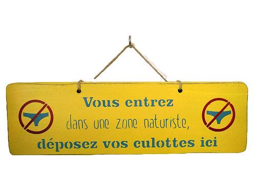 PANCARTE DECO zone naturiste