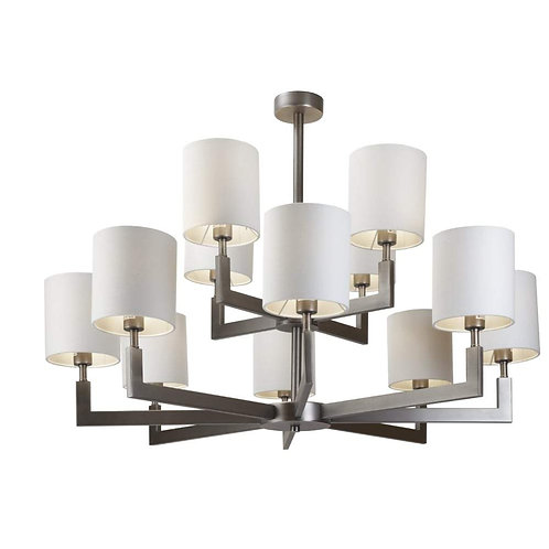 RV Astley Ealga 12 arm gun metal chandelier