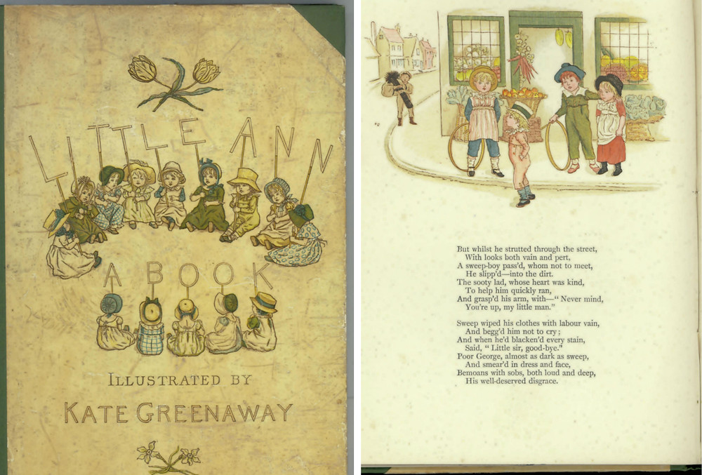 Kate Greenaway, Cover and excerpt from Little Anne and Other Poems (1883). Courtesy: State Library Victoria