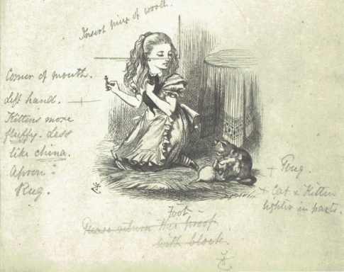 Notes and corrections by Tenniel on the proof of an illustration. Courtesy: Garvey and Bond