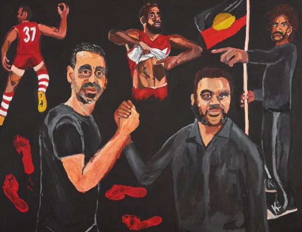 "Mim Stirling, Vincent Namatjira's ""Stand Strong for Who You Are"", a portrait of Adam Goodes for which he won The Archibald Prize 2020."