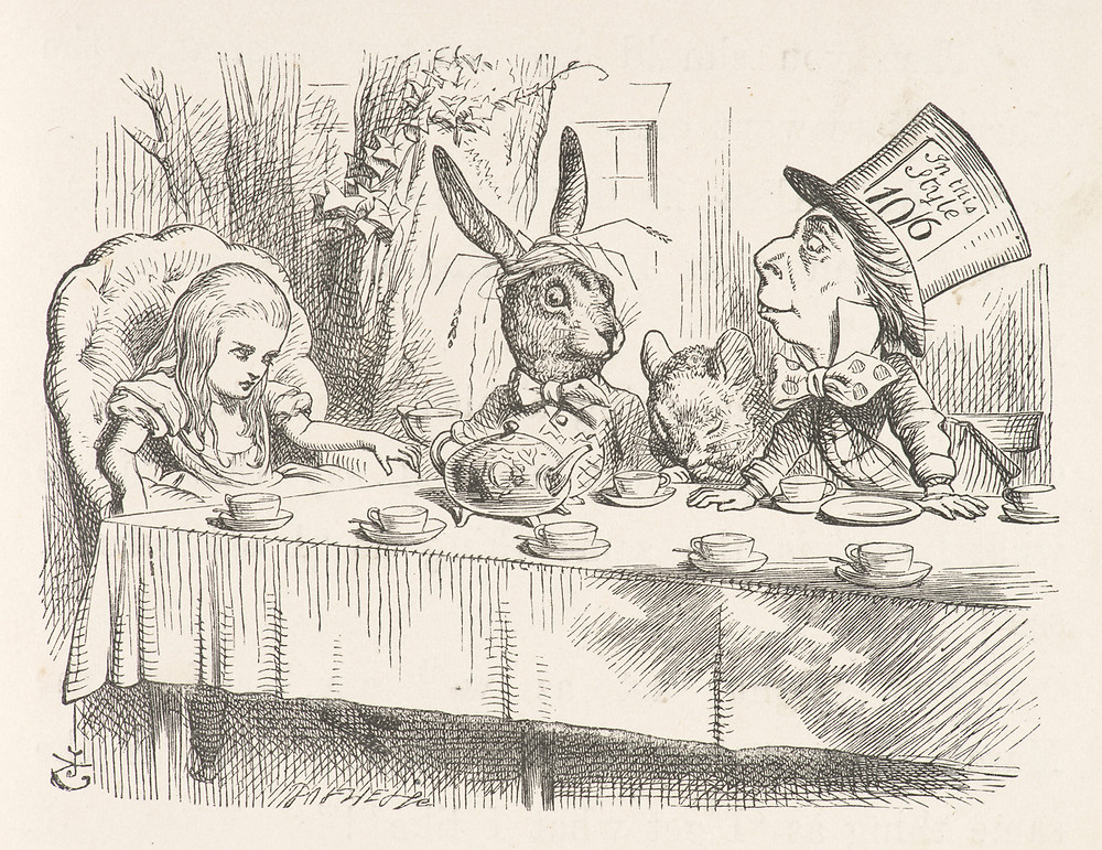 John Tenniel, Mad Hatter's Tea Party (1865). Courtesy: From Old Books