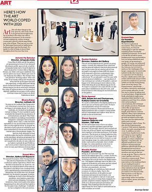 Catch our founder, Nivedita Poddar speak to The Telegraph's supplement T2 about the trials that 2020 brought and how Art Fervour coped with it all.
