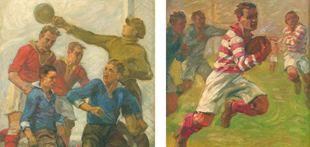"Jean Jacoby, ""Corner"" (L) and ""Rugby"" (R), at the 1928 Olympic Art Competitions in Amsterdam. Jacoby won a gold medal for ""Rugby"". From the collection of the Olympic Museum Lausanne. Courtesy: Smithsonian Magazine"