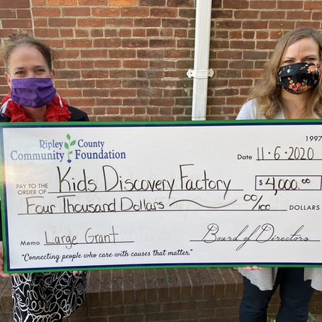 Kids Discovery Factory Receives $4,000 Grant from the Ripley County Community Foundation