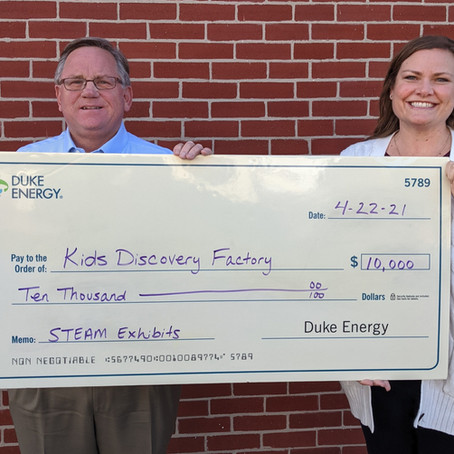 Kids Discovery Factory Receives $10,000 from Duke Energy Foundation.