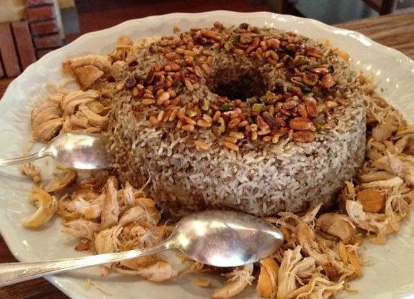 Arroz Sírio - 1,8 kg - com Carne Moída, Frango, Amêndoas, Snoubar, Pistache