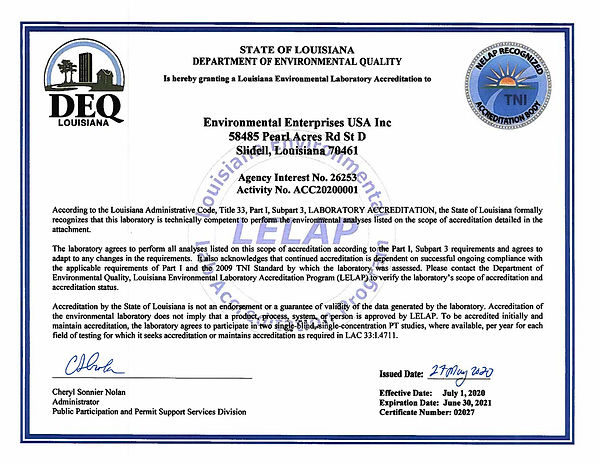 2020  to 2021 LDEQ NELAP Cert  of Accred