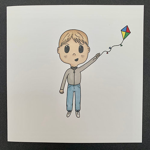 Boy with Kite Card