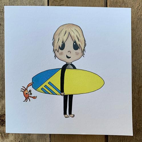 Caught Crab Surfer Card