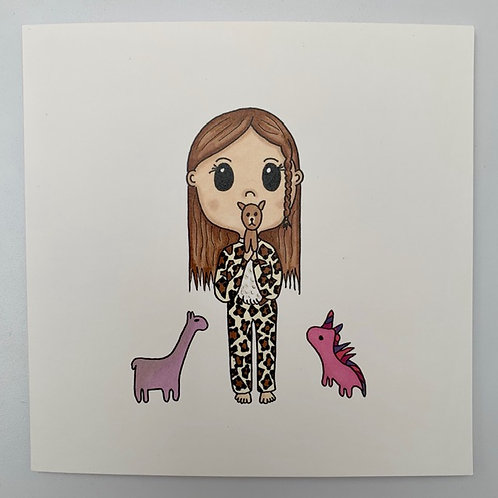 Little Girl in Onesie Card