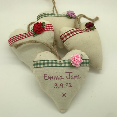 Personalised Rose & Ribbon Hearts