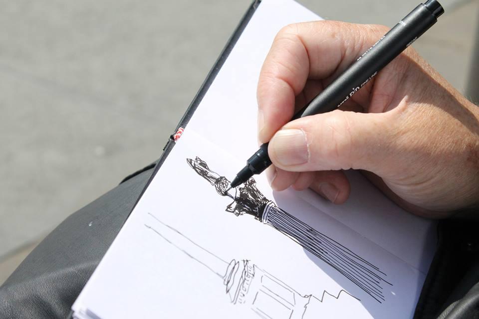 Me drawing at Trafalger Square London 3