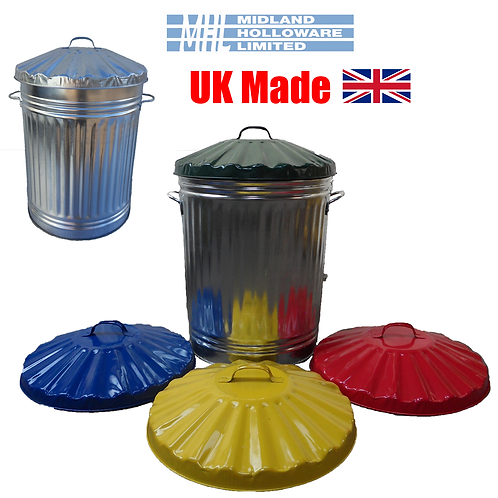Galvanized Tapered 90ltr Dustbin Storage Waste Rubbish *Various Coloured Lids*